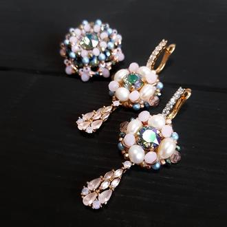 Комплект сережки та брошка чи перстень з кристалами Swarovski подарок жене на новый год