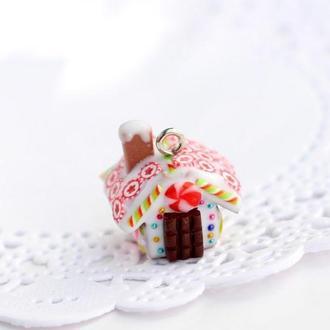 Кулон подвеска пряничный домик новогодний подарок подруге сестре новогодняя подвеска