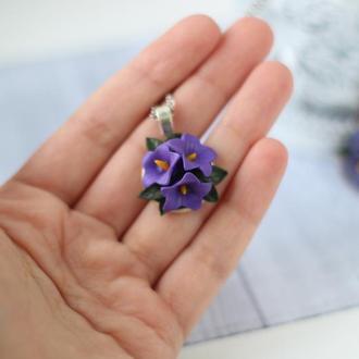 Кулон подвеска с колокольчиками кулон с фиолетовыми цветами подарок девушке сестре маме