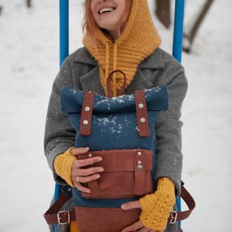 Рюкзак из хлопка высокой плотности и натуральной кожи модели Roll Top Max