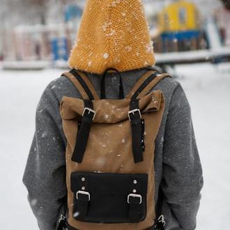 Рюкзак из хлопка высокой плотности и натуральной кожи