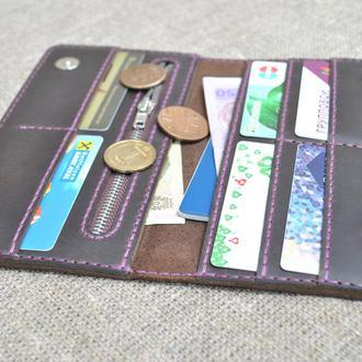 Кошелек шоколадного цвета с контрастной нитью K27m-450+purple