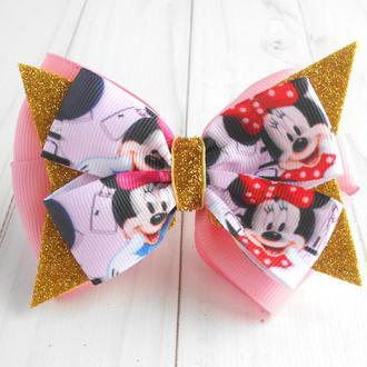 Нарядный бантик с Минни Маусом на резинке Украшение для волос девочке Подарок на день рождение