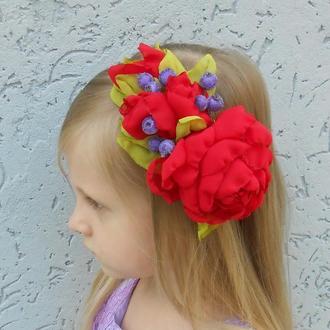Ободок для волос с красным цветком Обруч на голову девочке Украшение для волос для девушки Подарок
