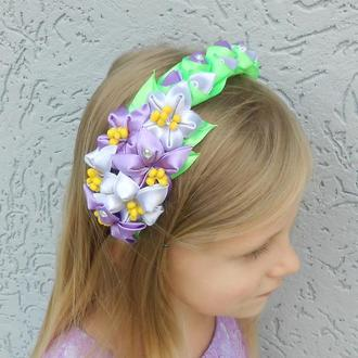 Фиолетовый цветочный обруч на голову Нарядный ободок Украшение для волос Подарок для девочки