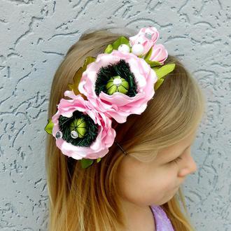 Розовые маки на ободке для волос девочке к вышиванке Обруч на голову с цветами в подарок