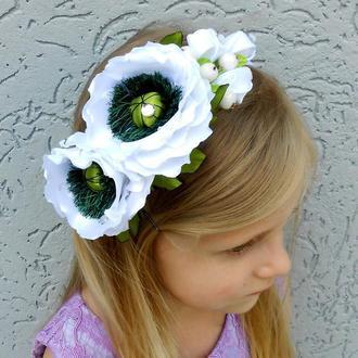 Ободок с белыми маками под вышиванку девочку Обруч с цветами для волос Подарок девушке