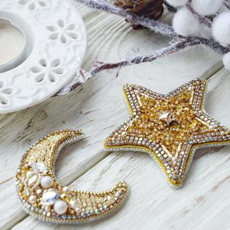 Сет брошей звезда и луна в золотом цвете