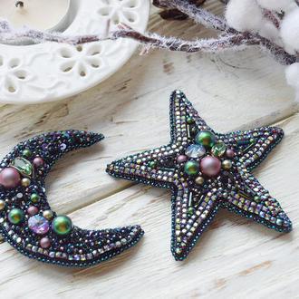 Сет брошей луна и звезда  с кристаллам сваровски