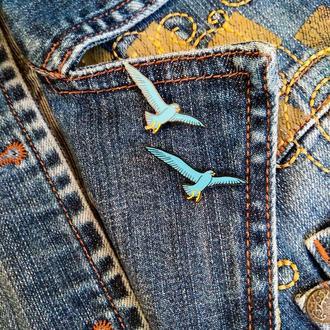 Значок на одежду, значок на обувь, значок на рюкзак, пин эмаль для лета, птица, голубая чайка