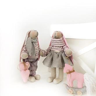 Набор пара заек с лошадкой подарок на Святого Николая Новый год игрушка заяц тильда
