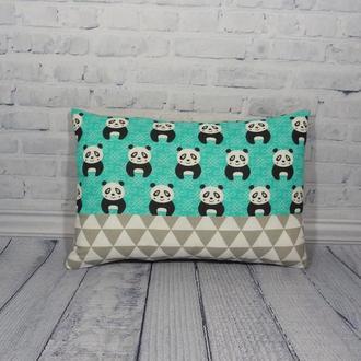 Двухсторонняя декоративная подушка - панды с хлопка и плюша, подушка панды, подушка геометрия