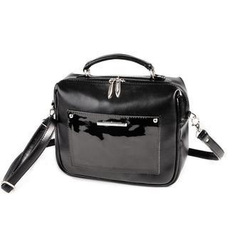Сумка-чемоданчик Черная с лаковым карманом