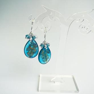 Серьги Морские голубые с ракушками
