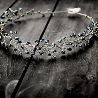 Синий (хамелион) венок для волос, веточка в прическу