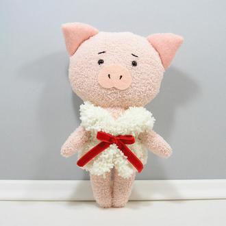 Поросенок с красным бантом Мягкая свинка в жилете Игрушка розовый декор хрюша