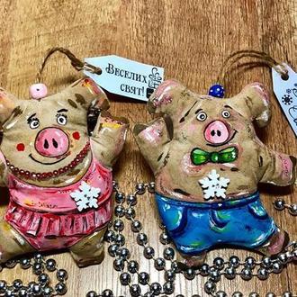 Новогодняя игрушка свинка, поросенок, кофейная игрушка