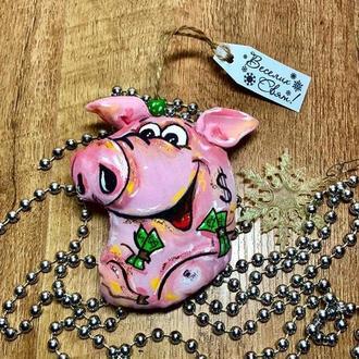 Свинка, поросенок символ 2019 года, новогодняя игрушка