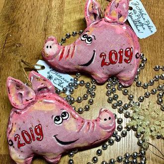 Свинка, свинья поросенок символ 2019 года, новогодняя игрушка