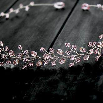 Нежно розовый венок для волос, веточка в прическу
