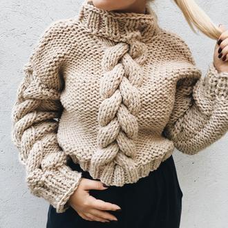 Ванильный свитер с объемными косами (в две нити), теплый, крупная вязка, оверсайз