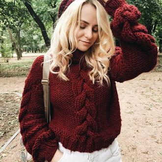 Винный свитер с объемными косами (в одну нить), теплый, крупная вязка,оверсайз