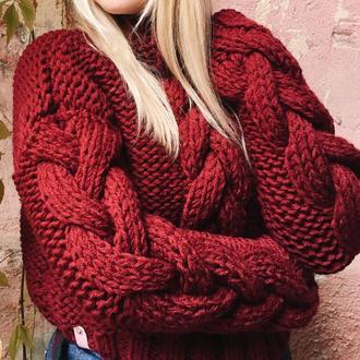 Винный свитер с объемными косами (в две нити), теплый, крупная вязка, оверсайз