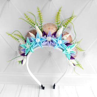 Корона русалки девушке для фотосессии Обруч Украшение на голову в морском стиле Ободок с ракушками