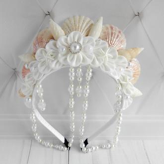 Белая корона русалки девушке Аксессуар для фотосессии Обруч в морском стиле Ободок для волос