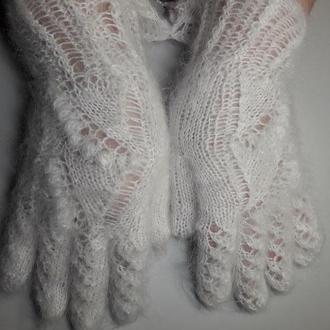 """Перчатки из козьего пуха """"Снежные цветы"""""""