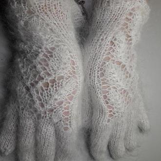 """Перчатки ажурные из белого козьего пуха """"Снежные узоры"""""""