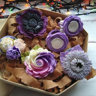 Набор резинок в сиреневых оттенках в подарочной коробочке, подарок для девочки, цветы на резинках
