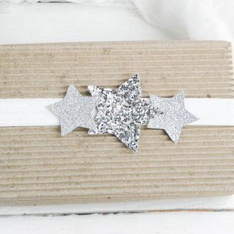 Повязка для малышки, Детская повязка со звездами для девочки, Стильная, красивая новогодняя повязка