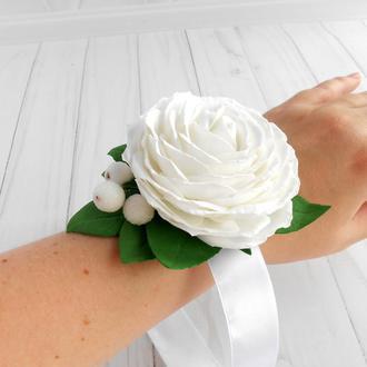 Цветочный браслет на руку Браслет для подружек невесты Свадебное украшение с белой розой