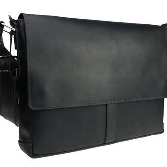 Кожаная вертикальная мужская сумка для документов формата А4. Деловой портфель. Мессенджер