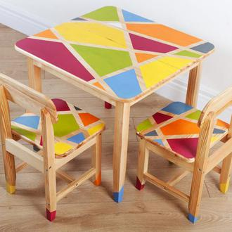 Детский комплект стол, стулья и машинка для игрушек, деревянный