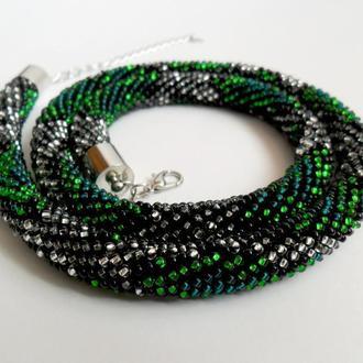 Жгут из бисера зеленая змея