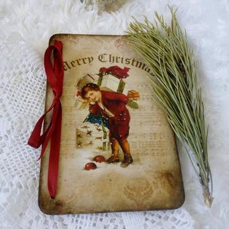 Деревянная открытка к Новому году и Рождеству в винтажном стиле