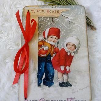 Деревянная новогодняя  рождественская открытка
