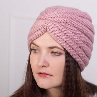 Тёплая вязаная чалма Шапка тюрбан розового цвета