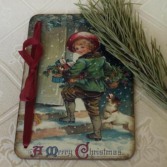 Рождественская новогодняя открытка в винтажном стиле на деревянной основе