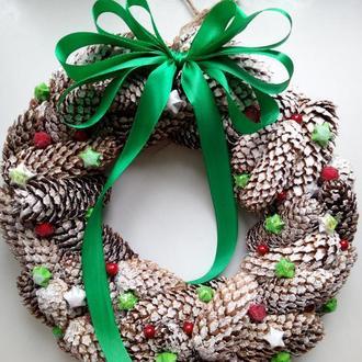 Новорічний віночок,  новорічний декор,   різдвяний віночок
