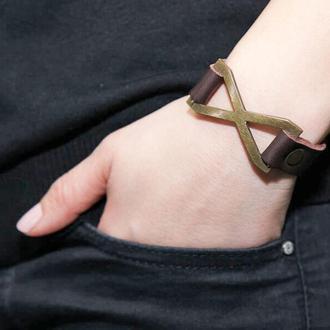 Тонкий кожаный браслет со знаком бесконечности код 3147