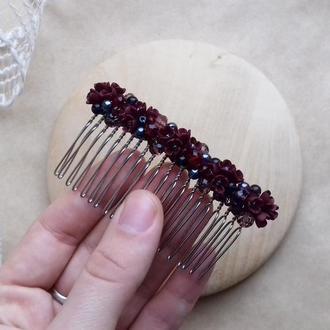 Бордовый гребешок, гребешок для волос, гребешок с цветами, подарок девушке
