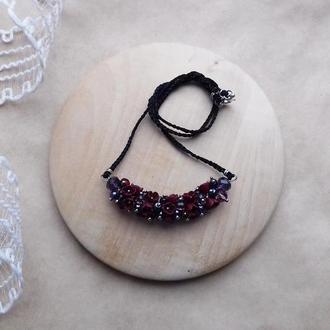 Бордовая подвеска, цветочное украшение, украшение на шею, подарок девушке