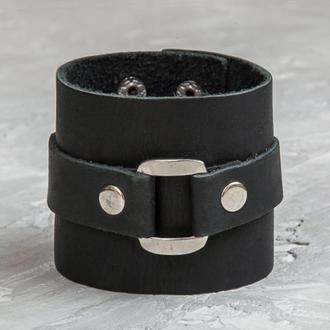 Широкий черный кожаный браслет код 3160