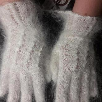 """Перчатки ажурные из белого козьего пуха """"Иней"""""""