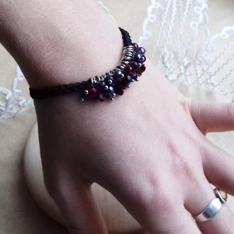 Бордовый браслет с цветами, цветочное украшение, украшение на руку, подарок девушке