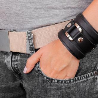 Широкий черный кожаный браслет с квадратной фурнитурой код 3163