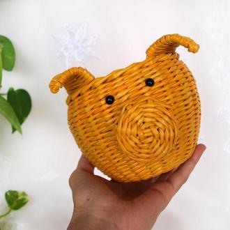 Желтая свинка Свинка символ 2019 года Подарок на Новый год